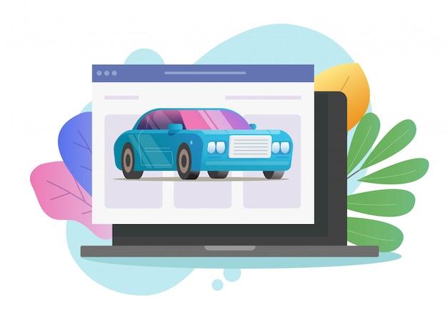 Voiture Véhicule Service En Ligne Boutique Icône Vecteur Sur La Page Web De L'ordinateur Portable Vecteur Premium