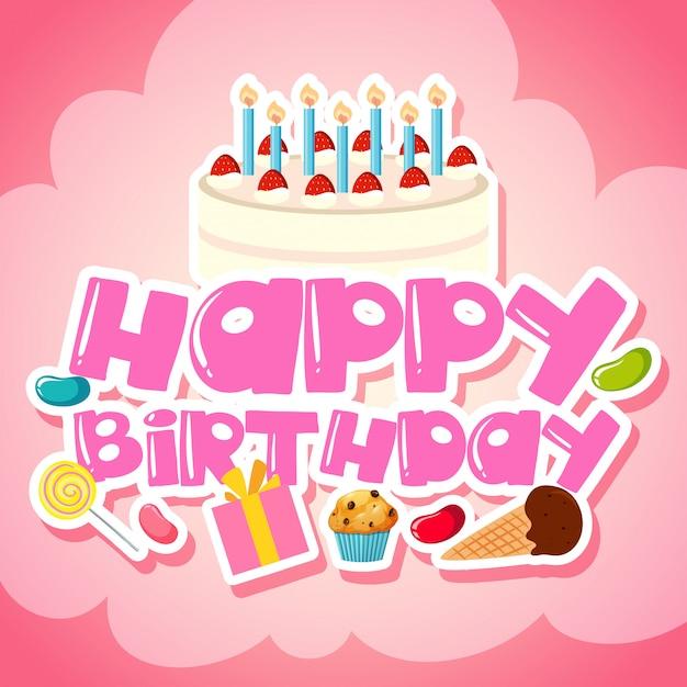 Voiture de voeux joyeux anniversaire Vecteur gratuit