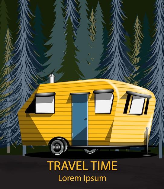 Voiture de voyage dans la forêt la nuit Vecteur Premium