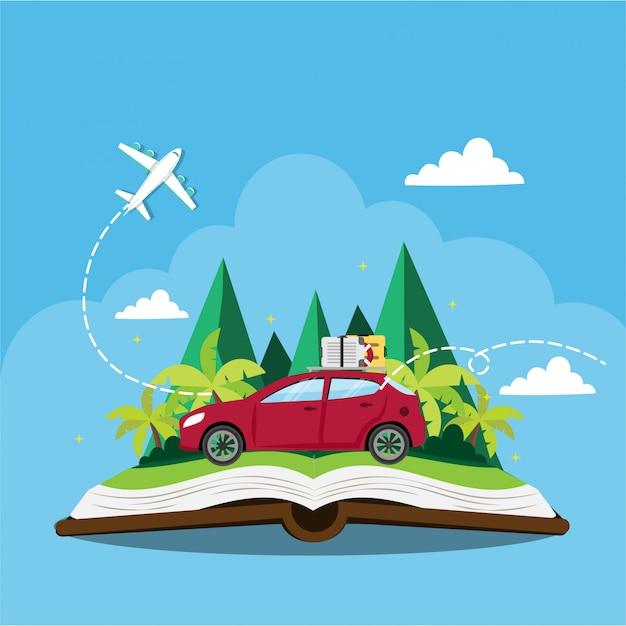 Voiture voyageant sur un livre Vecteur Premium