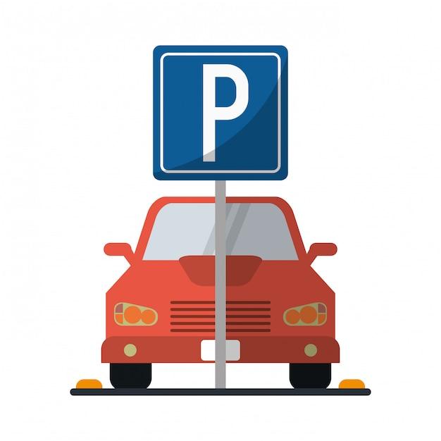 Voiture sur la zone de stationnement Vecteur Premium