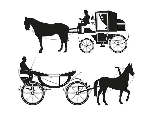Voitures Anciennes Avec Des Chevaux. Images Vectorielles De Transport De Conte De Fées Rétro Vecteur Premium
