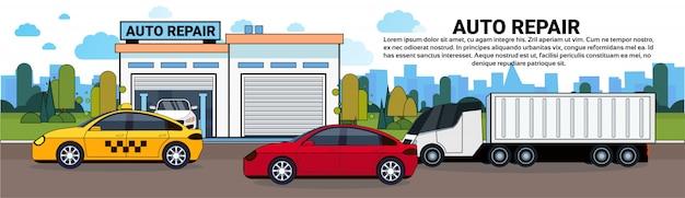 Voitures et camions sur la route au-dessus de bannière de garage de service de réparation automatique de garage Vecteur Premium