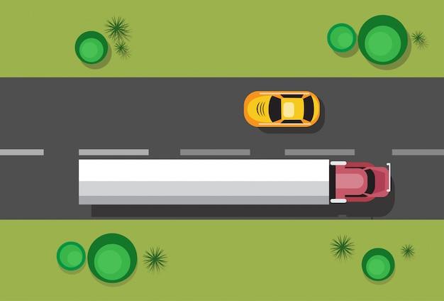 Voitures sur la circulation routière concept vue de dessus d'angle Vecteur Premium