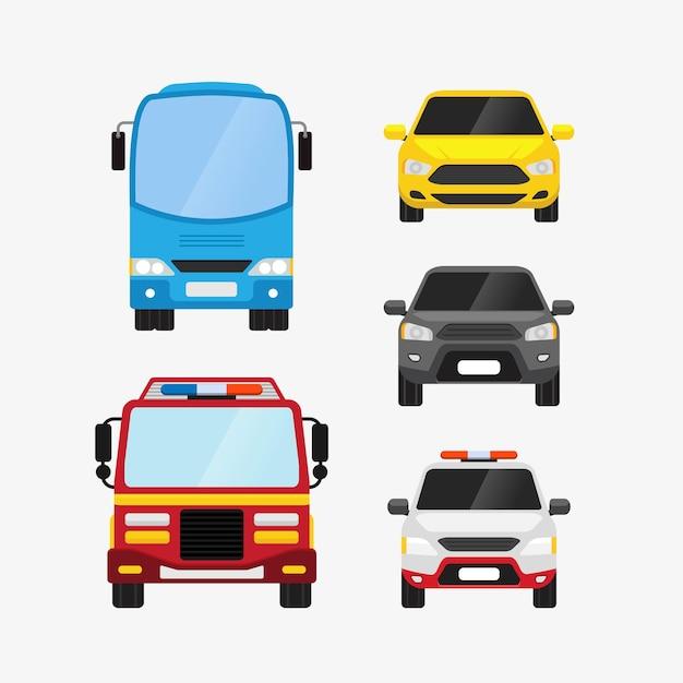 Voitures Définies Illustration De Transport Personnel Et Public Vue De Face Vecteur Premium