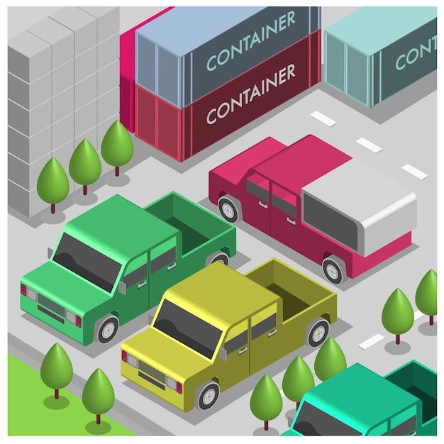 Voitures d'illustration isométrique de vecteur dans le stationnement Vecteur Premium