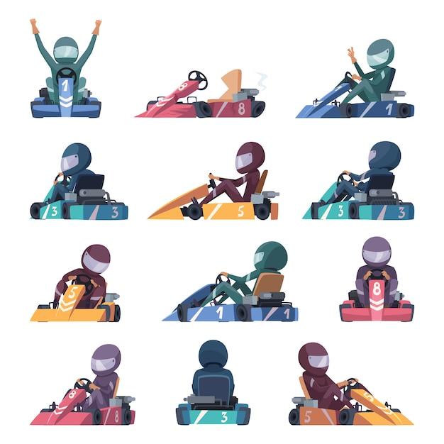 Voitures De Karting. Machines De Karting De Vitesse De Coureurs Rapides Sur Des Illustrations De Dessin Animé Vecteur Premium