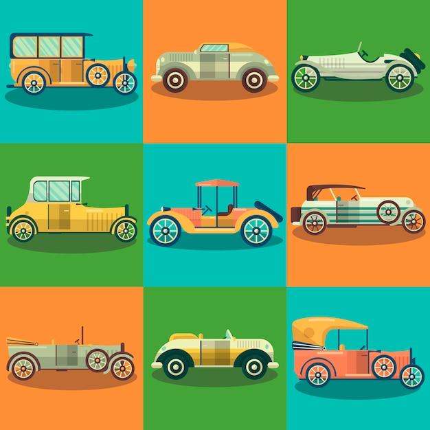 Voitures plates et voitures de collection vectorielles ensemble plat Vecteur Premium