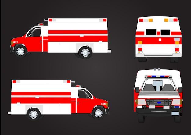 Voitures de sauvetage vecteur rouge isolées Vecteur Premium