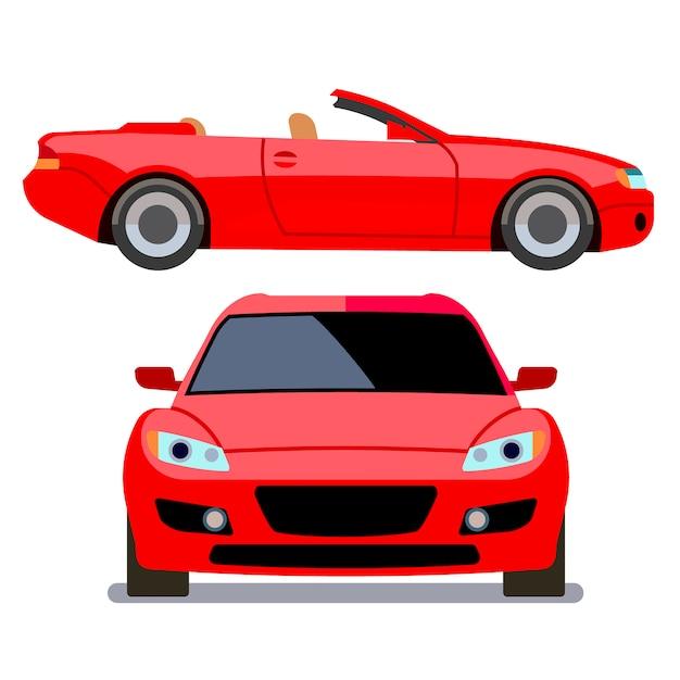 Voitures de style plat de vecteur dans différentes vues. transport de cabriolet rouge, illustration d'une machine moderne Vecteur Premium