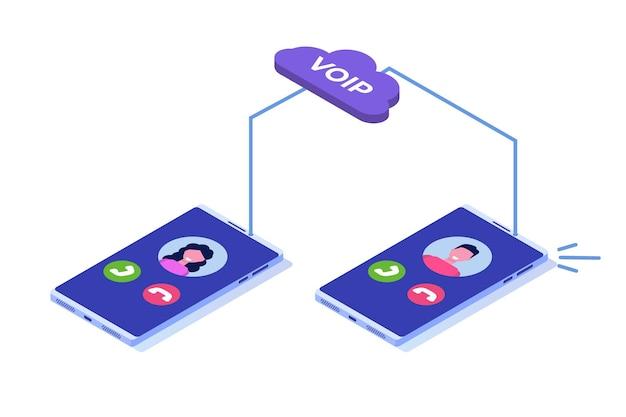 Voix Sur Ip, Concept Isométrique De La Technologie Voip De Téléphonie Ip. Vecteur Premium