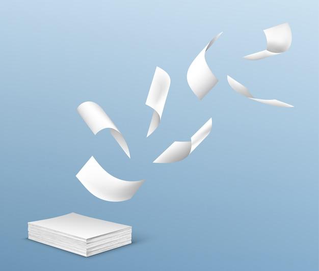 Vol De Feuilles De Papier Blanc à Partir De La Pile De Documents Vecteur gratuit