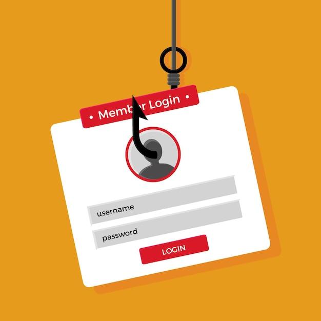 Vol D'identité De Phishing En Ligne Vecteur gratuit
