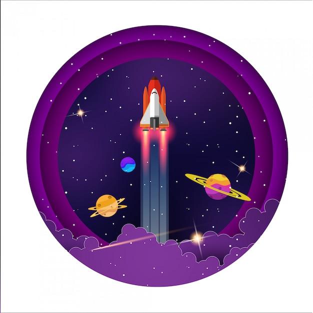 Vol spatial entre les belles planètes de la galaxie Vecteur Premium