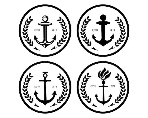 Volant Et Barre De Gouvernail De Bateau Avec L Ancre Au Dessus Du Symbole De Logo De L Eau De Vague Vecteur Premium