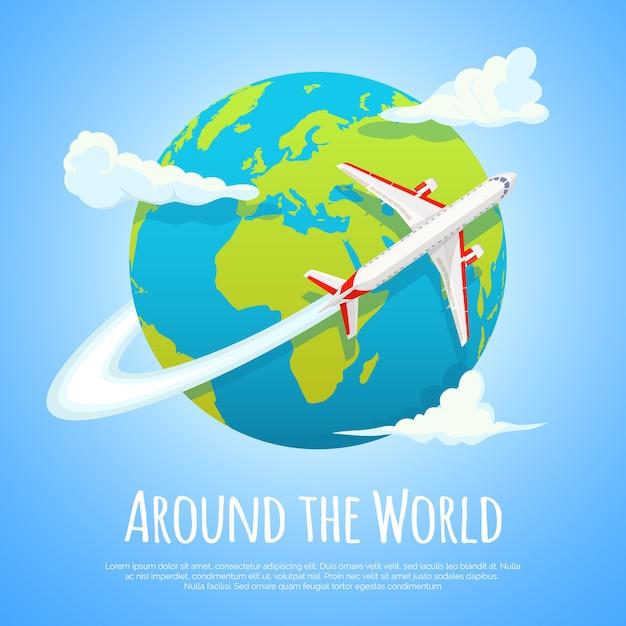 Voler autour du monde. voyage au monde. voyage sur la route. concept de tourisme et de vacances Vecteur Premium