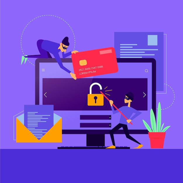 Voler Le Concept De Cyberattaque De Données Vecteur gratuit