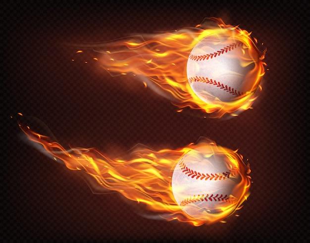 Voler dans le vecteur réaliste de balles de baseball flammes Vecteur gratuit