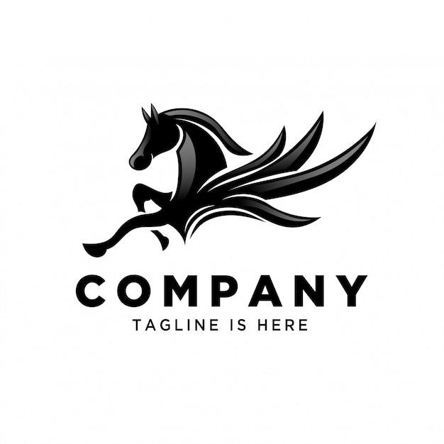 Voler pégase saut logo Vecteur Premium