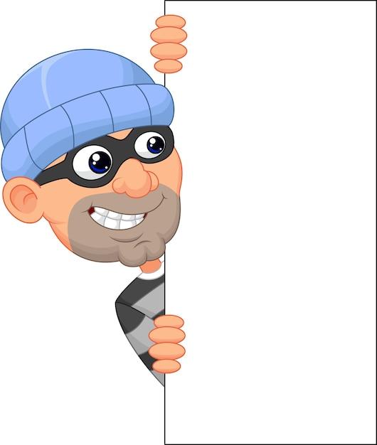 Voleur de dessin animé en regardant le bord d'un signe vierge Vecteur Premium