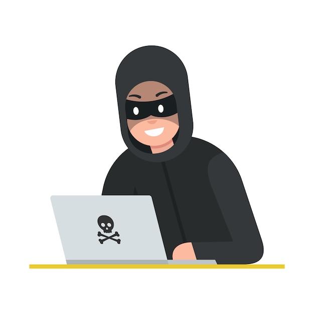 Voleur De Pirate Avec Ordinateur Portable. Cyber-attaque Vecteur Premium