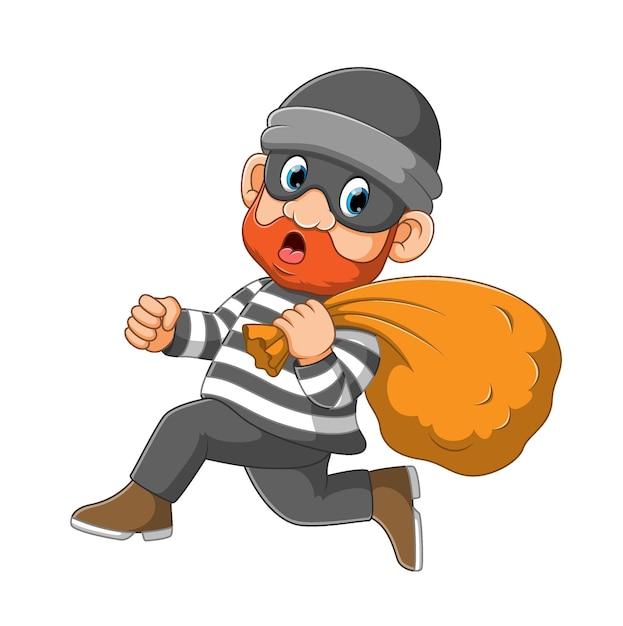 Voleur Portant Un Masque En Cours D'exécution Pour S'éloigner De L'illustration De La Police Vecteur Premium
