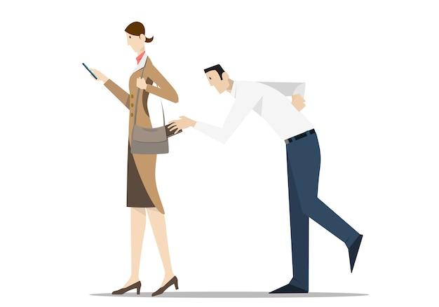 Voleur à La Tire Portefeuille De Sac à Main D'une Femme à L'aide De Téléphone Mobile Vecteur Premium