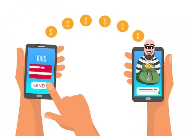 Un voleur a volé de l'argent via un transfert en ligne depuis un mobile. Vecteur Premium
