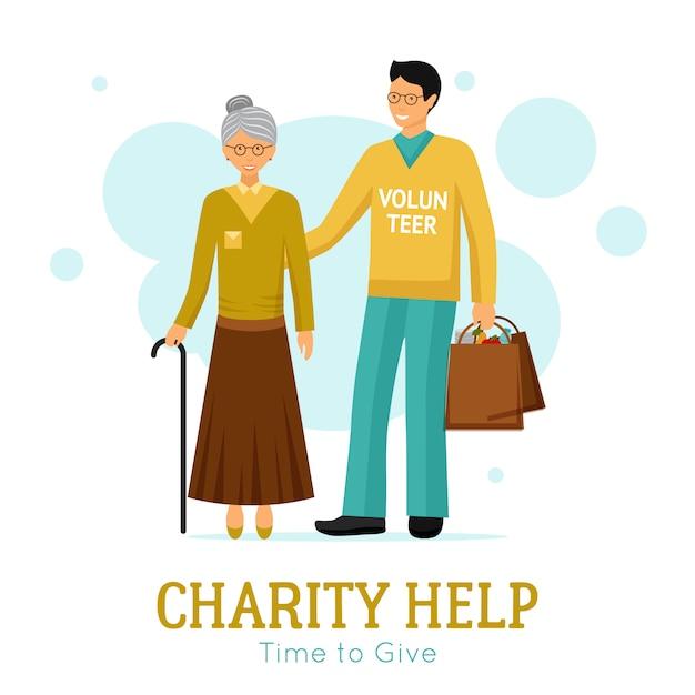Volunteers charity help organisation affiche plate Vecteur gratuit