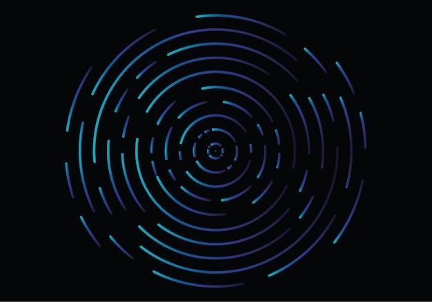 Vortex géométrique abstrait, lignes de tourbillon circulaires Vecteur Premium