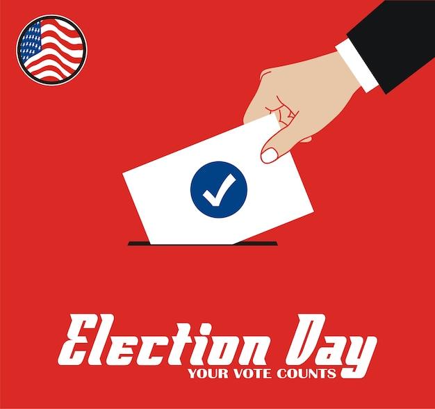 Vote le jour du scrutin Vecteur Premium