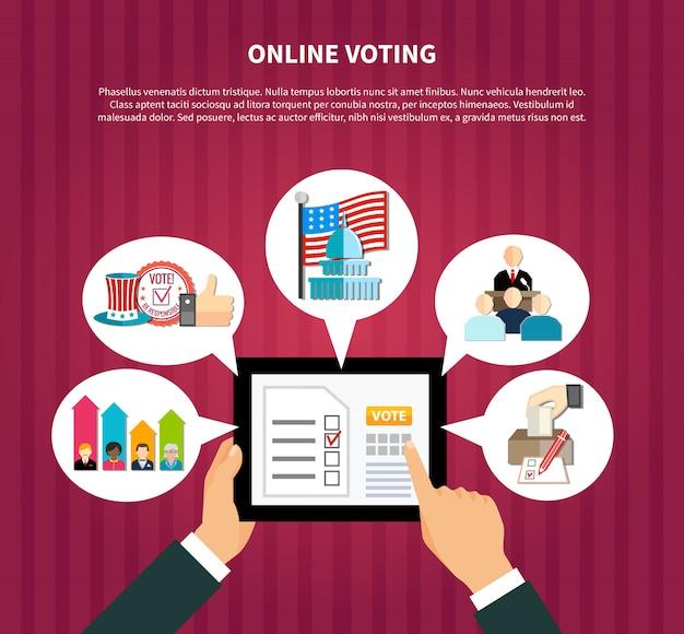 Vote en ligne aux élections Vecteur gratuit