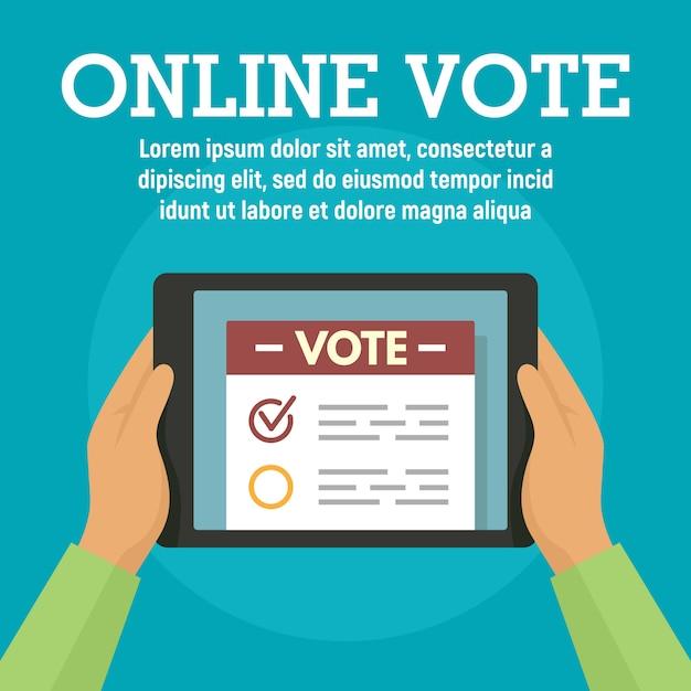 Vote En Ligne Sur Le Modèle De Tablette, Style Plat Vecteur Premium