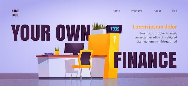 Votre Propre Page De Destination De Dessin Animé De Finances Avec Le Bureau Du Personnel Du Bureau De La Banque Dans Le Hall Vecteur gratuit