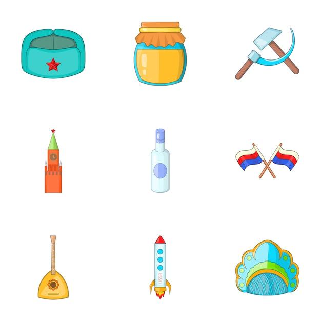 Voyage au jeu d'icônes de la russie, style cartoon Vecteur Premium