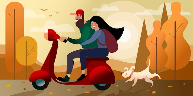 Voyage d'automne en scooter avec une fille. scène de rue de la ville. . Vecteur Premium