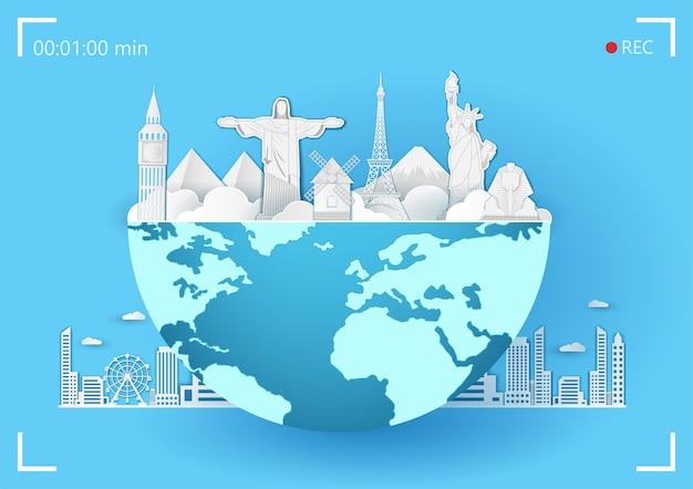 Voyage autour du monde. Vecteur Premium