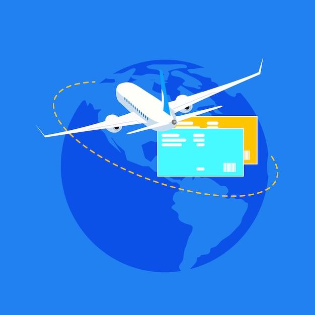 Voyage autour de word avec plan plat vector concept Vecteur Premium