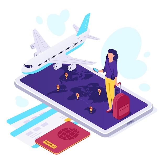 Voyage En Avion Isométrique. Valise De Voyageur, Voyages En Avion Et Voyage Illustration Vectorielle 3d Vecteur Premium