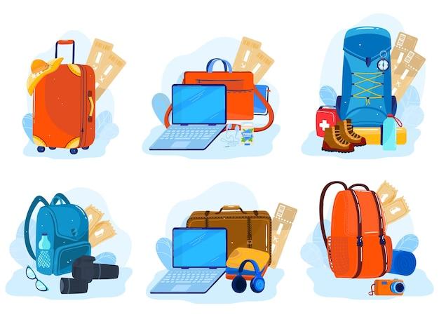 Voyage Bagages, Valises, Sacs à Dos, Ensemble De Paquets D'illustration Isolée. Vecteur Premium