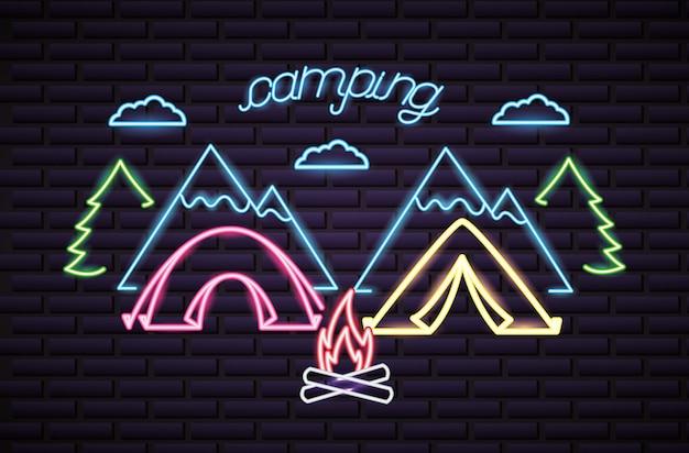 Voyage de camping dans le style néon Vecteur gratuit