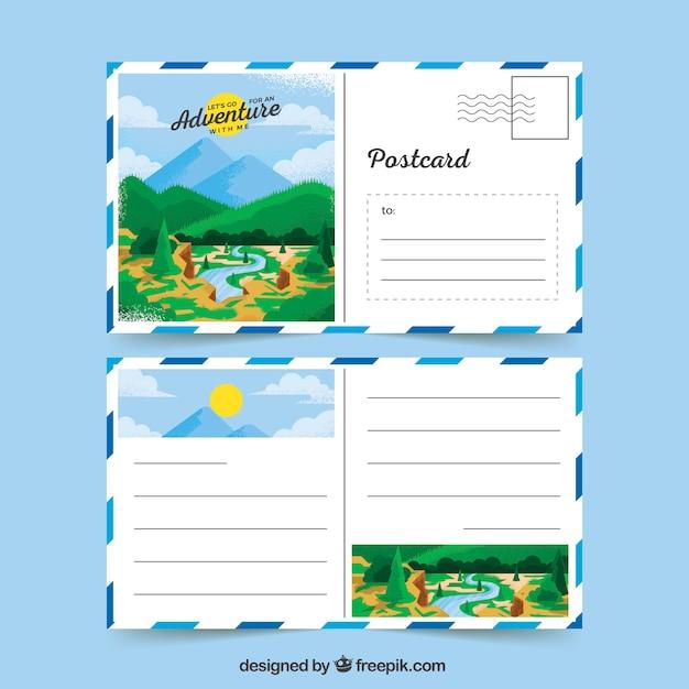 Voyage cartes postales avec paysage Vecteur gratuit