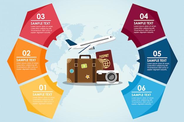 Voyage cercle infographique avec fond du monde Vecteur Premium