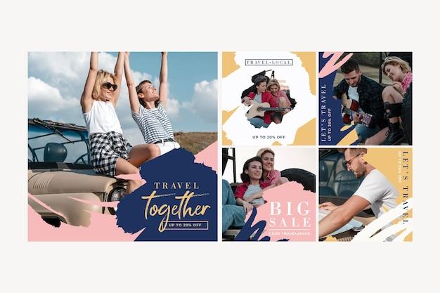 Voyage Collection De Publications Instagram Avec Des Coups De Pinceau Vecteur gratuit