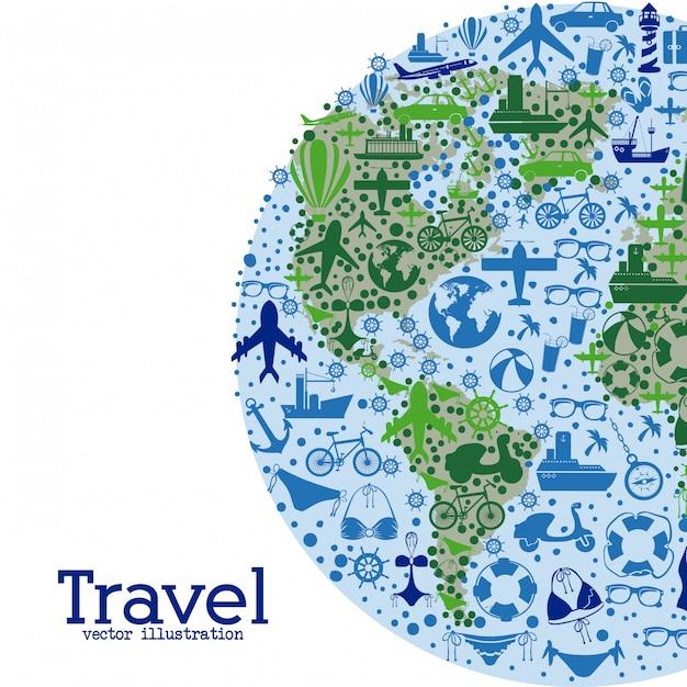 Voyage dans le monde entier Vecteur Premium