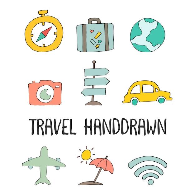 Voyage dessiné à la main icône illustration vecteur Vecteur Premium