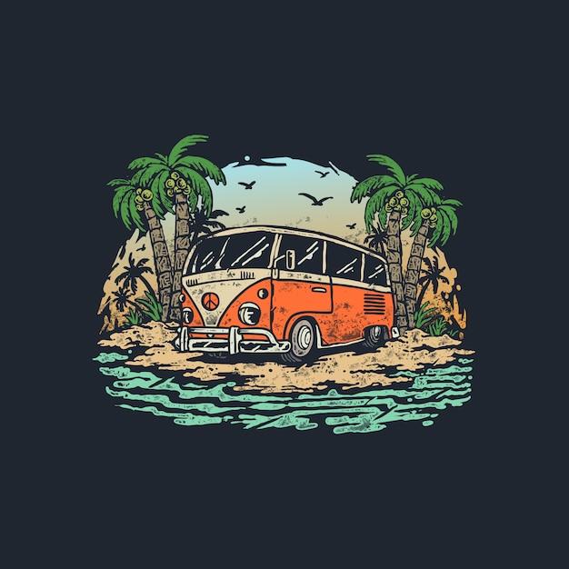 Voyage D'été Vintage Old Wagon Car Illustration Vecteur Premium