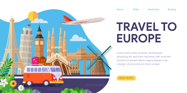 Voyage en europe page de destination Vecteur Premium