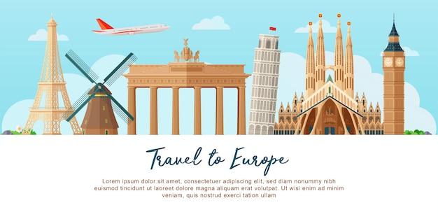 Voyage en europe Vecteur Premium