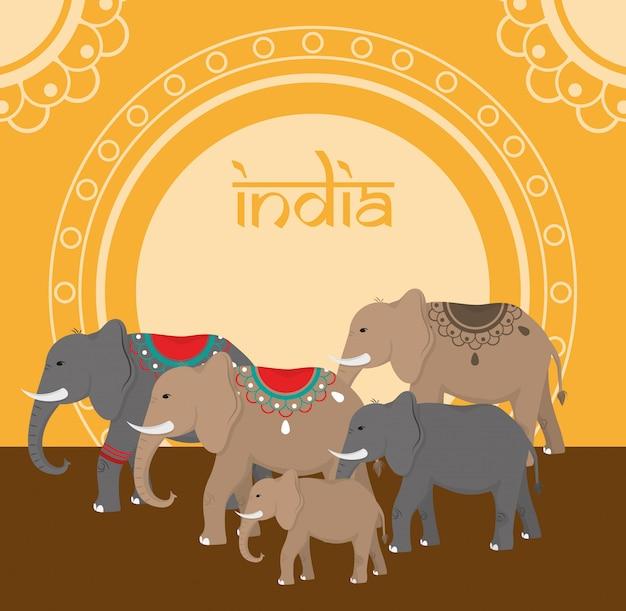 Voyage en inde et culture Vecteur Premium